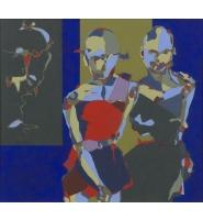 Two Figures - Acrylic on Board